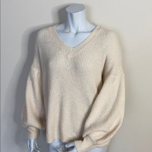 Debut Vneck Sweater with Balloon sleeve NWT size S